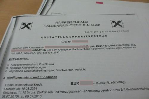 Ein typischer Kreditvertrag, in diesem Fall von der Raiffeisenbank Halbenrain (Gepp)