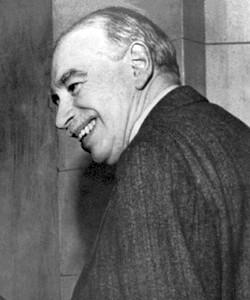 Kernpunkt der Lehre des britischen Ökonomen John Maynard Keynes       (1883 bis 1946) war, dass der Staat in wirtschaftlich       schlechten Zeiten investieren und Geld ausgeben muss. Auf diese       Art gleicht er das Schwächeln der Privatwirtschaft aus (Wikipedia)