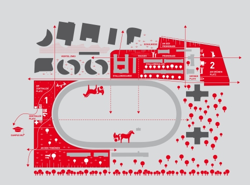 """Plan des Areals: Links oben das """"Viertel Zwei"""" im Besitz der IC Projektentwicklung, das 2010 fertiggestellt wurde. Die roten Bereiche sind jene, die die IC Projektentwicklung 2011 dazugekauft hat. Die Bahn selbst und eine von drei Tribünen verbleiben bei der Stadt. (Der Bereich rechts von der Bahn gehört nicht zur Anlage). Plan: IC Projektentwicklung"""