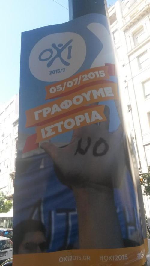 Ein Plakat in Athen wirbt für das